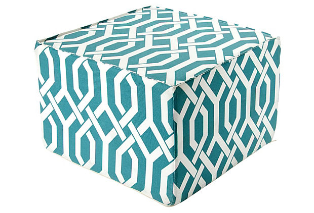 "Interlock Teal 22"" Ottoman"