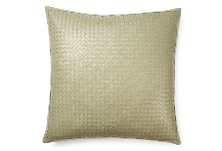 Woven 21x21 Leather Pillow, Sage