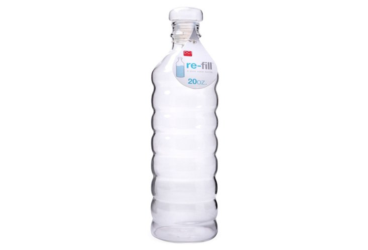 S/2 Refill Glass Water Bottles