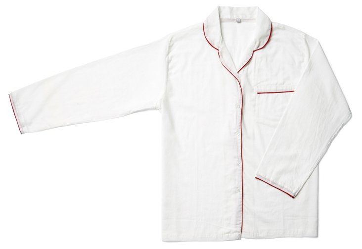 Piped Nightshirt, White/Red