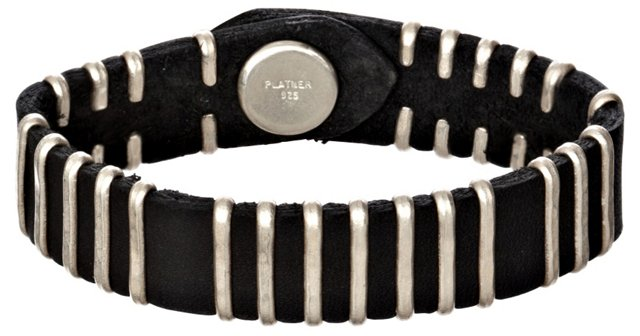 Birchbark Leather Cuff, Black