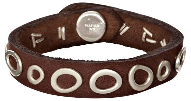 Pebbles Leather Cuff, Brown