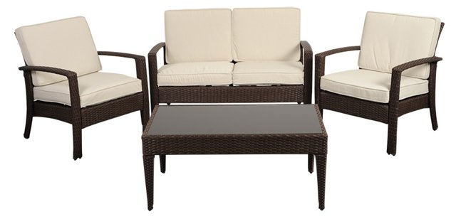 Florida 4-Pc Patio Set, Brown/White