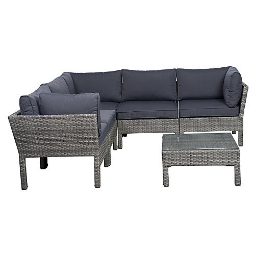 Infinity 6-Pc Wicker Patio Set, Gray
