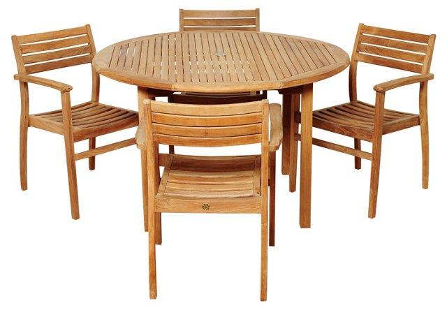 Windsor 5-Pc Teak Round Dining Set