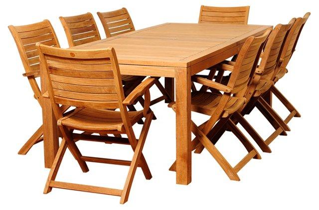 Sarah 9-Pc Teak Rectangular Dining Set