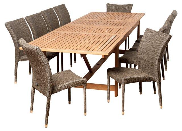 Jess 11-Pc Extendable Dining Set, Gray