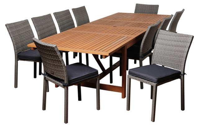 Paul 11-Pc Extendable Dining Set, Gray