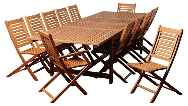 Tony 13 pc Extendable Dining Set