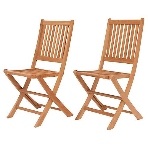 London Outdoor Teak Folding Chairs, Pair