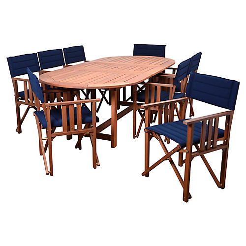 9-Pc Amazonia Valencia Dining Set, Blue