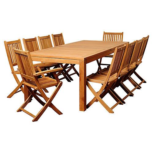 Blair 11-Pc Patio Dining Set, Natural