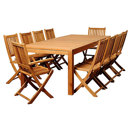 Blair 11-Pc Patio Dining Set, Natural
