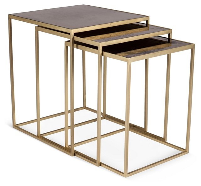 Kent Brass Nesting Tables, Set of 3