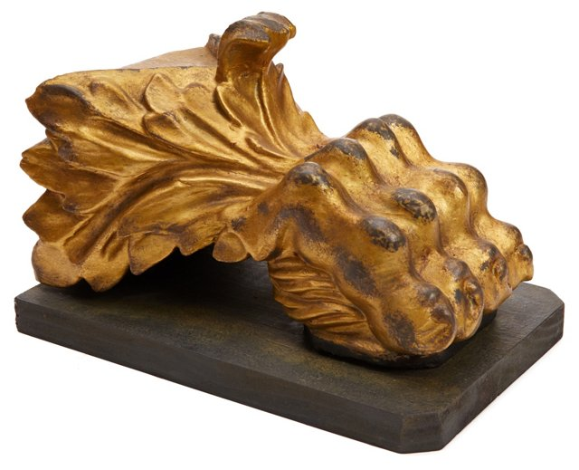 """12"""" Gilded Lion Paw, Gold"""