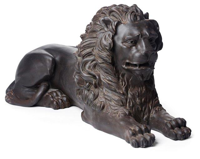 """20"""" Lion Statue, Black"""