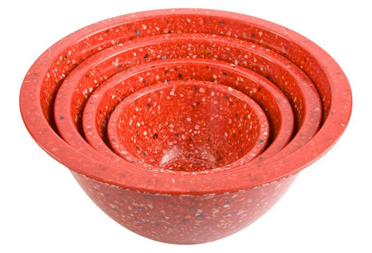 S/4 Assorted Nested Bowls, Confetti Red
