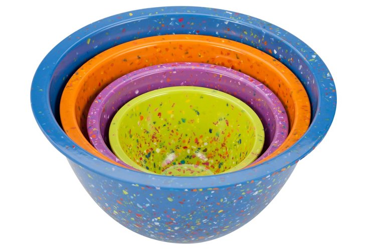 S/4 Assorted Nested Bowls, Blue/Multi