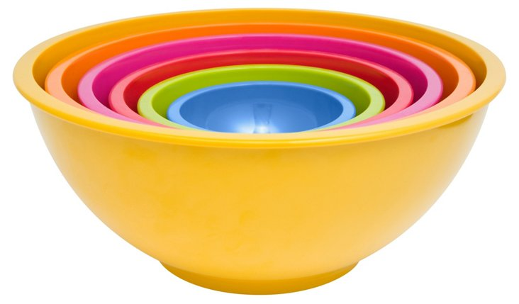 S/6 Assorted Nested Bowls, Yellow/Multi