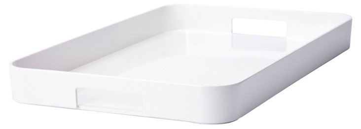 """21"""" Gallery Serving Tray, White"""