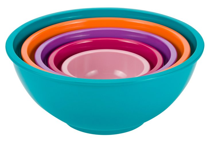 Asst of 5 Colorway Bowls, Azure/Multi