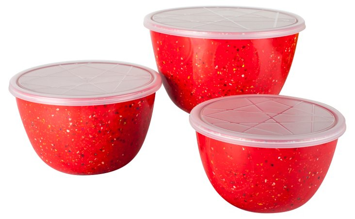 S/3 Assorted Lidded Bowls, Confetti Red