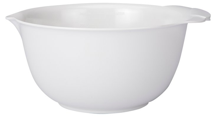 3 Qt Curved Spout Bowl with Lid, White