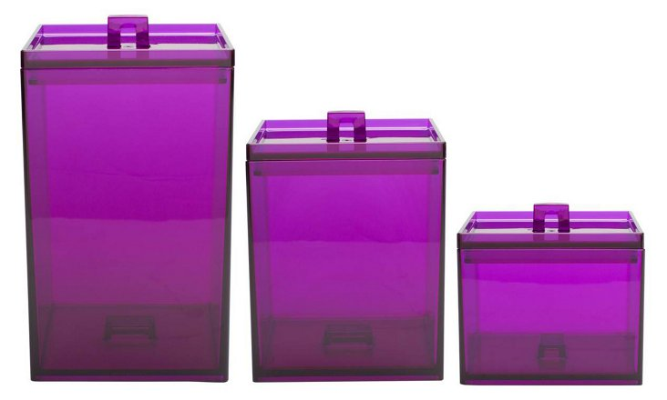 Asst of 3 Stackable Containers, Grape
