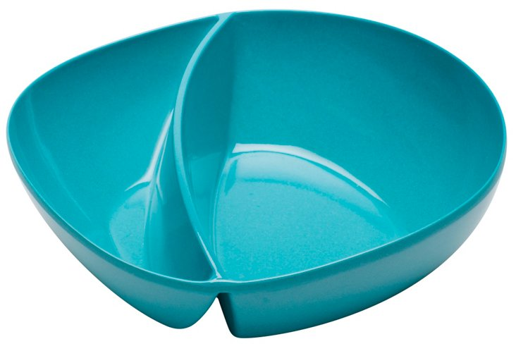 "S/6 Divided Azure Bowls, 7.5"""