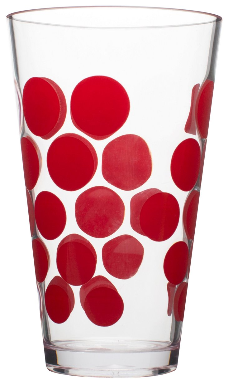 S/6 Red Dots Tumblers, 19 Oz