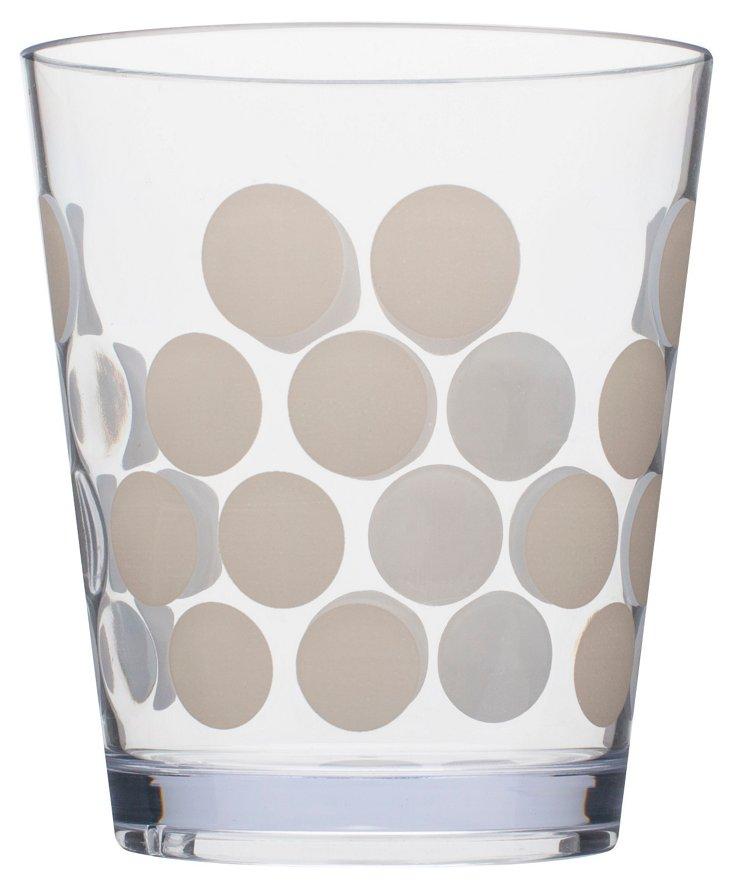 S/6 White Dots Tumblers, 14 Oz