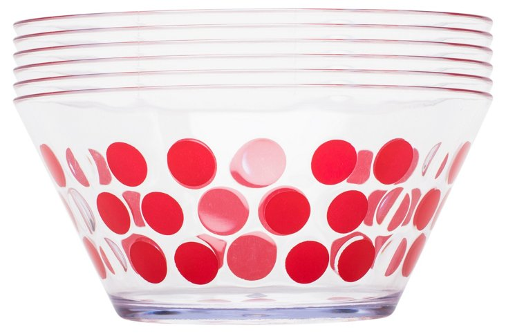 S/6 Plastic Dot Bowls, Red