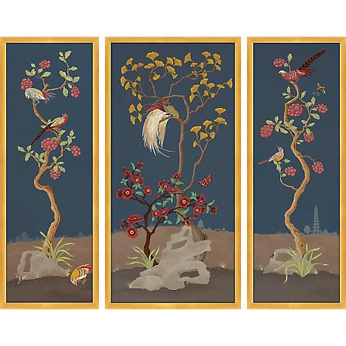 Chinoiserie Dark Triptych, Alison Cosmos