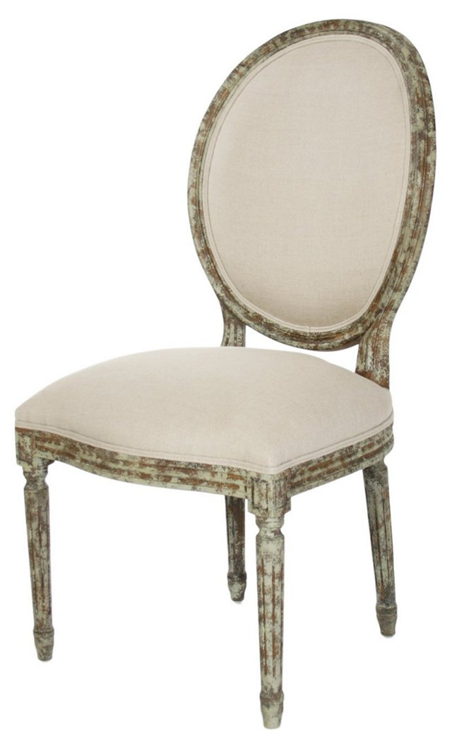 Octavia Side Chair, Ivory Linen