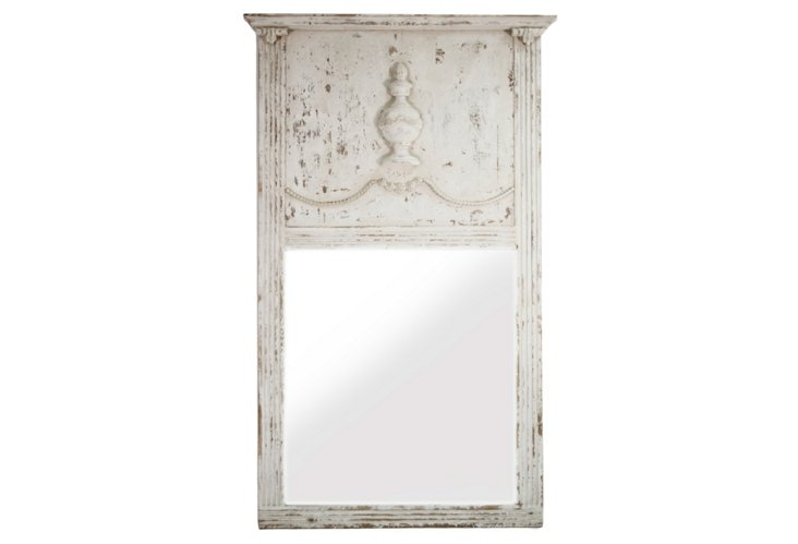 Charlotte Grand Mirror, Distressed Ivory