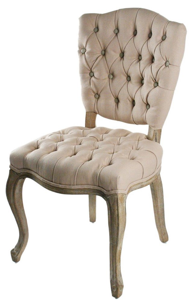 Neve Tufted Side Chair, Beige