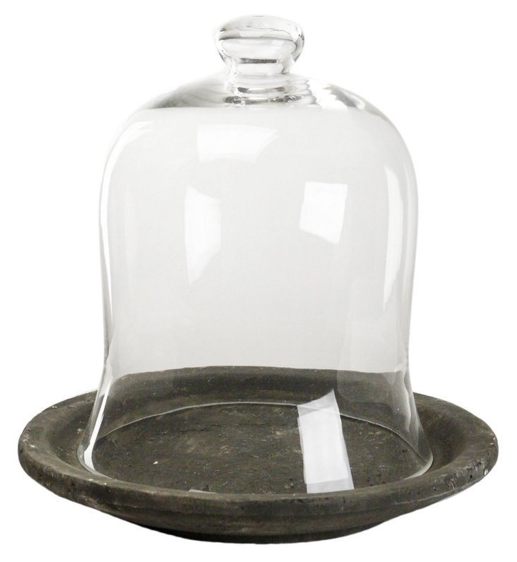 "15"" Glass Cloche w/ Ceramic Base"