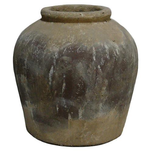 """16"""" Clay Olive Jar, Brown"""