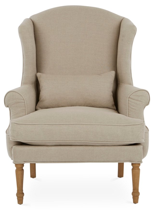 Lansdown Wingback Chair, Oatmeal Linen