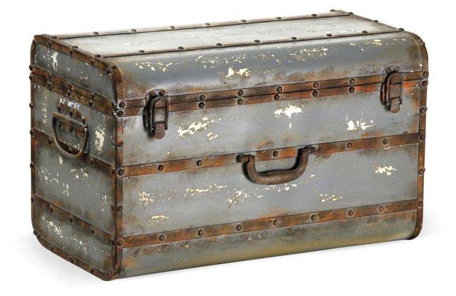 "20"" Antiqued Iron Box, Gray"