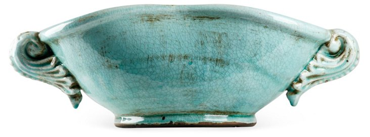 "18"" Decorative Ceramic Bowl, Blue"
