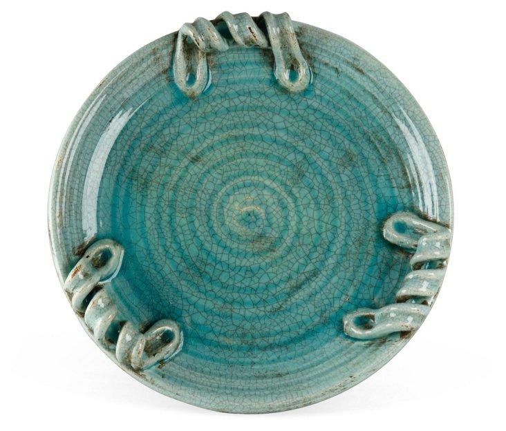 """18"""" Turquoise Ceramic Plate"""