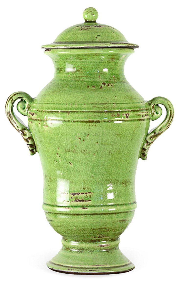 "19"" Ceramic Jar, Green"
