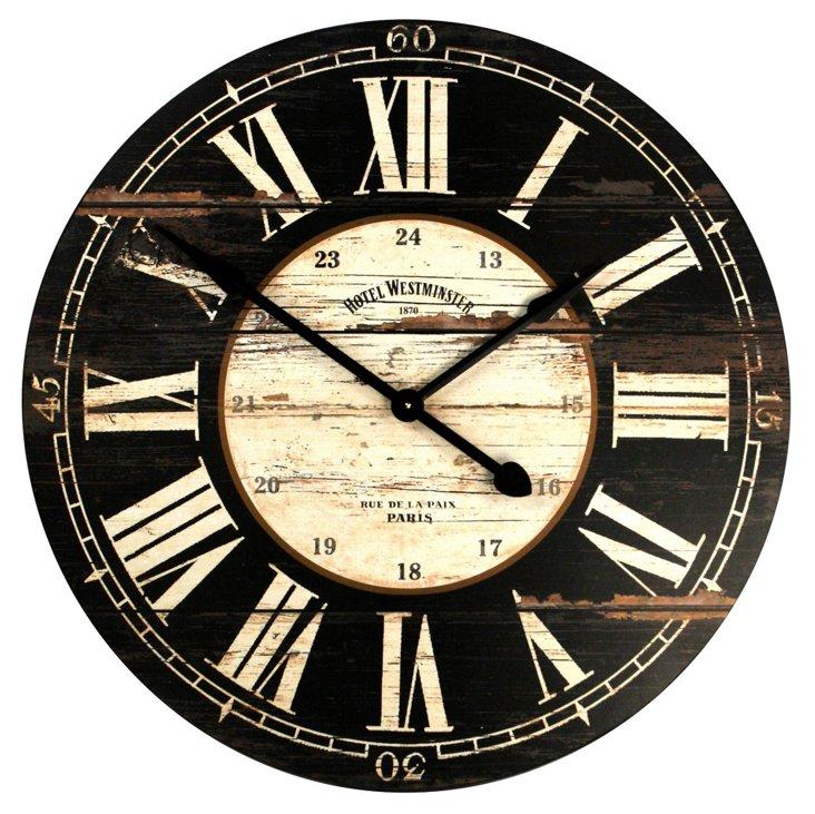 Whitemore Wooden Clock, Black
