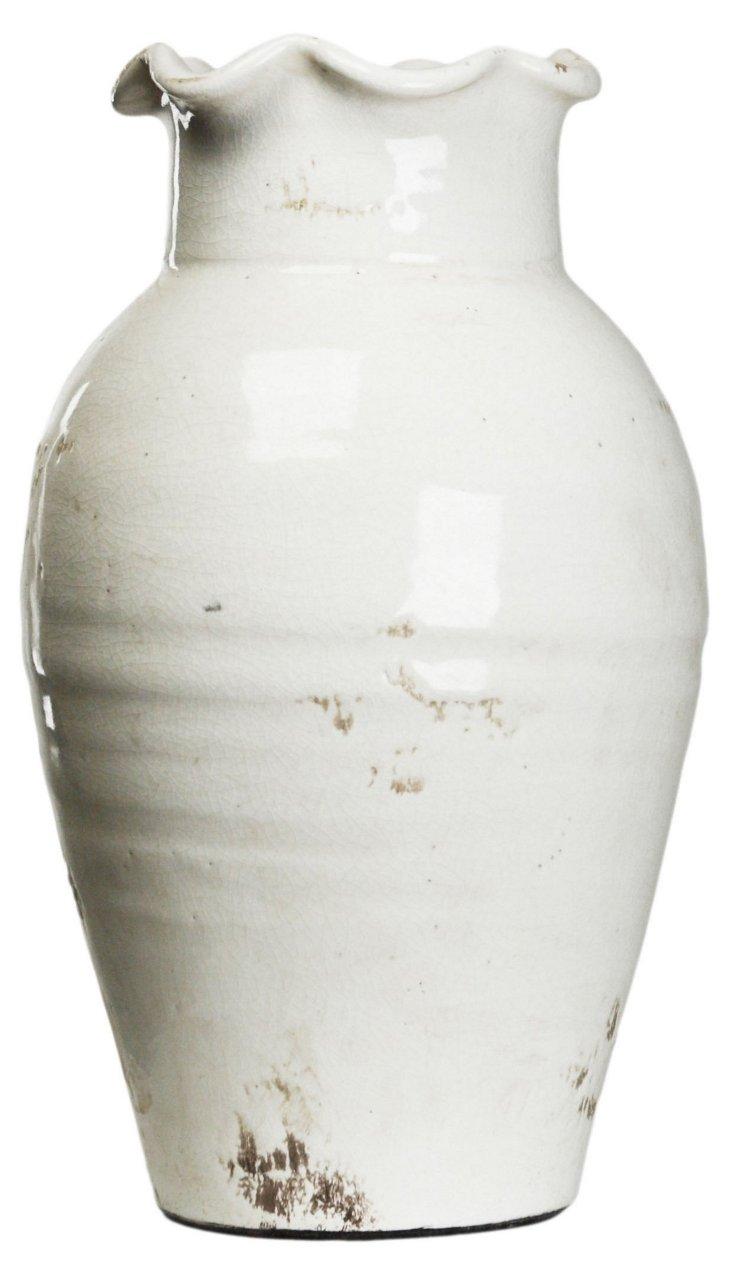 "14"" Petal-Top Vase, White"