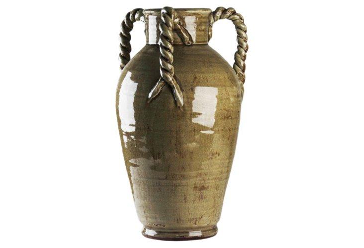 Braided Vase w/ Handles, Gray