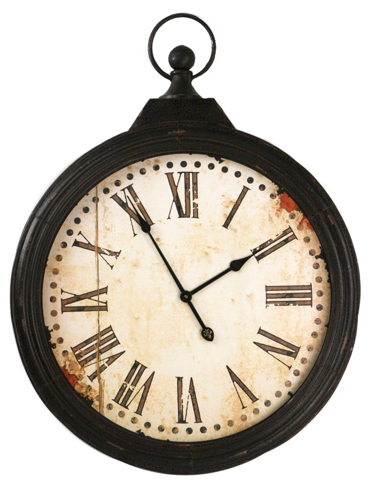 "35"" Circular Iron Clock, Black"