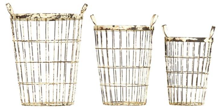 S/3 Distressed Metal Baskets