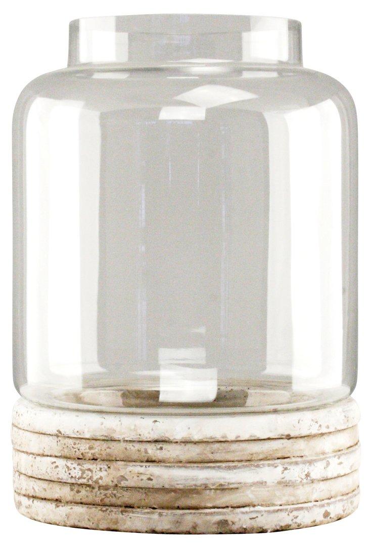 "14"" Glass & Ceramic Candleholder"