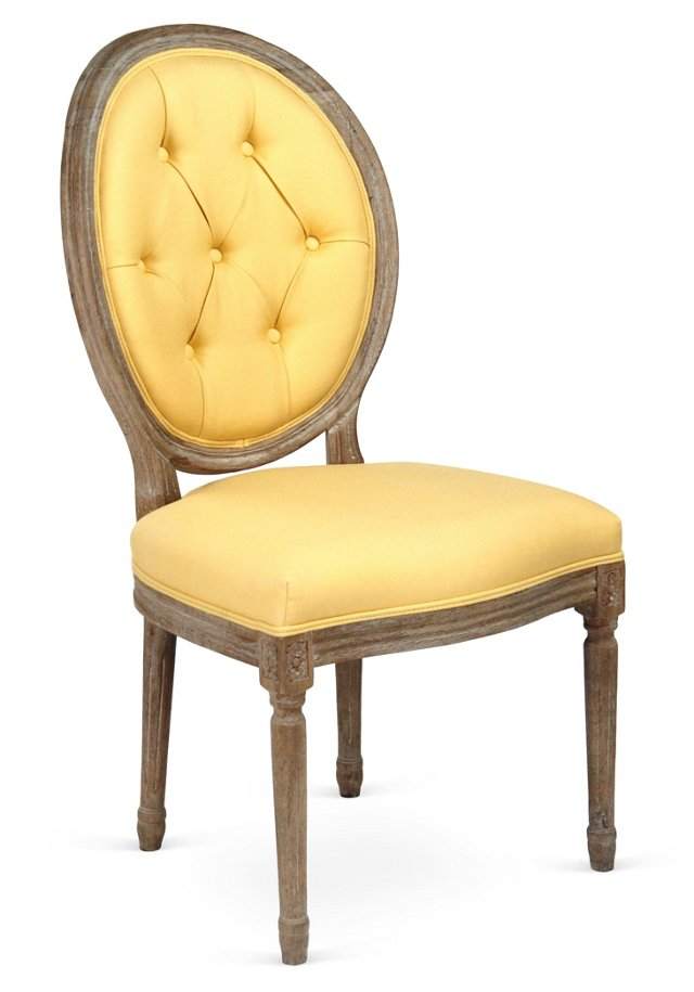 Medallion Tufted Side Chair, Butter